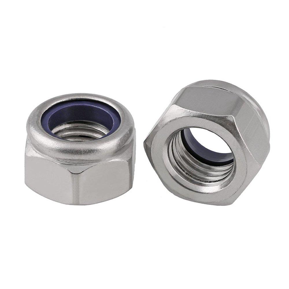 20pcs/lot M2 M2.5 M3 M4 M5 M6 M8 M10 M12 M14 A2 Stainless Steel Metric Thread Nylon Lock Nuts DIN985 (M2.5) junter