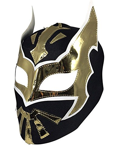 Sin Cara Wrestling Costume (Del Mex Lycra Lucha Libre Adult Luchador Mexican Wrestling Mask Costume (Sin Cara (Black)))