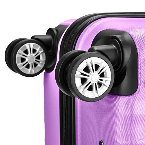 Multidireccional verde 4 Tsa maleta Maletas Mediano Claro De Viaje Púrpura candado Amasava 67cm maleta Ruedas Pálido Rígida S7OFvv