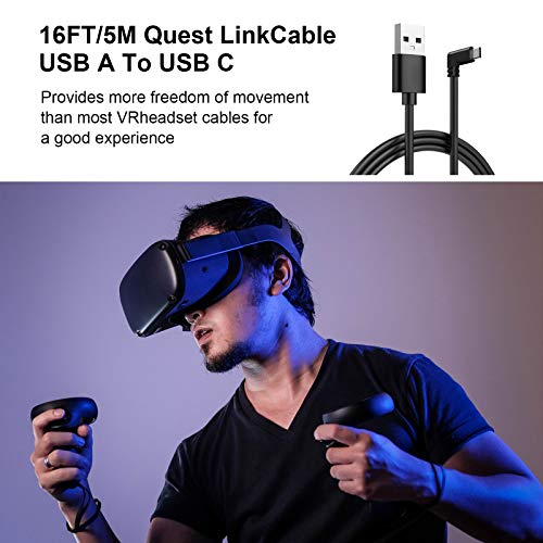 Type C Data Cable, USB C to USB 3.0 Right-Angle Data Cable (16 FT), can be Used to Connect Oculus Quest VR Devices, Fast Charging and high-Speed Data Transmission…