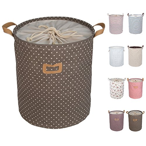 "DOKEHOM DKA0811BN2 17.7"" Large Laundry Basket (9 Colors), Drawstring Waterproof Round Cotton Linen Collapsible Storage Basket (Brown, M)"
