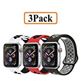 YC YANCH Greatou Compatible for Apple Watch Band 38mm 40mm,Soft Silicone Sport Band Replacement Wrist Strap Compatible for iWatch Apple Watch Series 4/3/2/1,Nike+,Sport,Edition,S/M,3 Pack