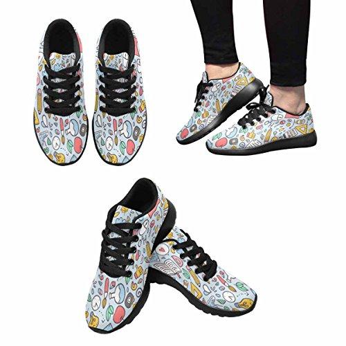 Interessante Womens Jogging Running Sneaker Leggero Go Easy Walking Comfort Sport Scarpe Da Corsa Modello Divertente Con Materiale Scolastico Ed Elementi Creativi Multi 1