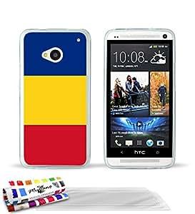 """Carcasa Flexible Ultra-Slim HTC ONE de exclusivo motivo [Bandera Rumania] [Transparente] de MUZZANO  + 3 Pelliculas de Pantalla """"UltraClear"""" + ESTILETE y PAÑO MUZZANO REGALADOS - La Protección Antigolpes ULTIMA, ELEGANTE Y DURADERA para su HTC ONE"""