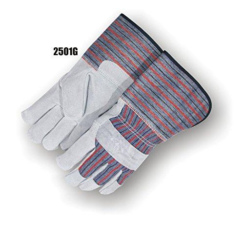 Stripe Gauntlet - Majestic Glove 2501G/10 Work Glove, Split, Gauntlet, Large, Size 10, Gray/Red Stripe (Pack of 12)