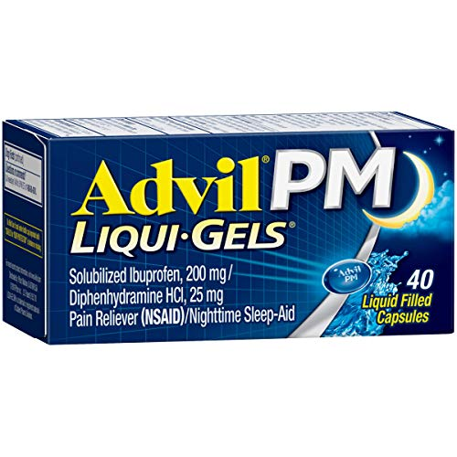 Advil PM Liqui-Gels (40 Count) Pain Reliever/Nighttime Sleep Aid Liquid Filled Capsules, 200mg Ibuprofen, 25mg Diphenhydramine