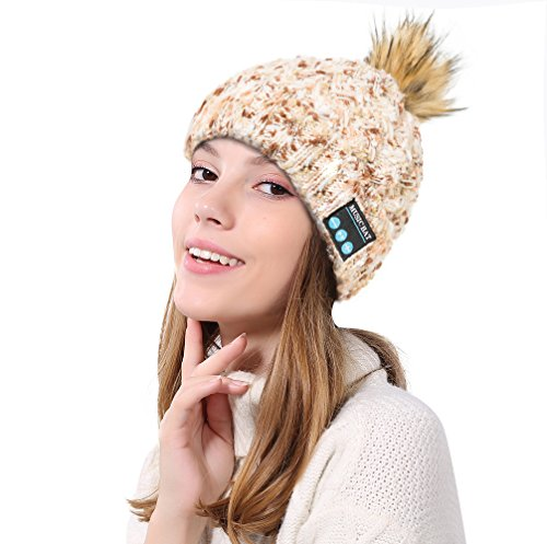 BTFBM Women's 2018 Knit Faux Fuzzy Fur Warm Winter Cap Music Beanie Hat Pom Pom Hat with Wireless Headphone Headset Speaker Mic for Running, Skiing, Skating, Hiking (MZ023_Beige) ()