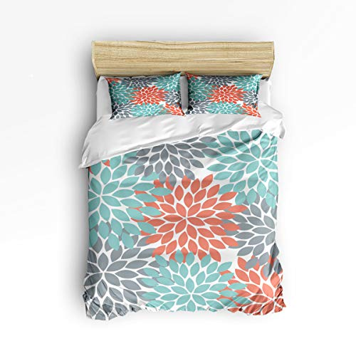 - SODIKA Duvet Cover Set 3 Pieces Comfortable Lightweight Durable Bedding with Zipper Ties,1 Duvet Cover + 2 Pillow Shams,Multicolor Dahlia Pinnata Flower Customized Teal,Green,Red Twin Size(68