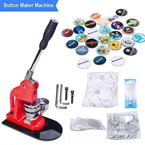 Seeutek 2-1/4 inch 58mm Button Maker Machine with 1100 Pcs Button Parts and 2-1/4 inch 58mm Circle Cutter