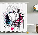 Black and Hot Pink Shower Curtains Ambesonne Music Shower Curtain by, Grunge Headphone with Digital Paintbrush Effects and Heart Nightclub Graphic, Fabric Bathroom Decor Set with Hooks, 75 Inches Long, Hot Pink Black Blue