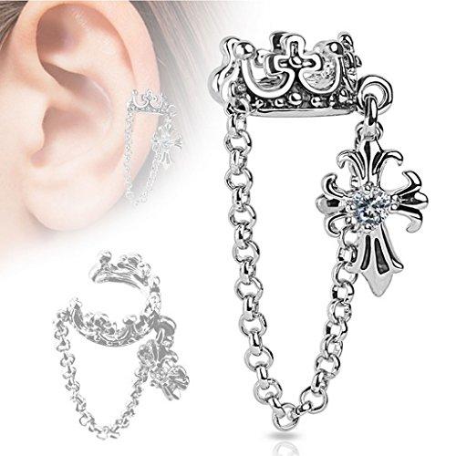 Faux piercing oreille croix et chaine