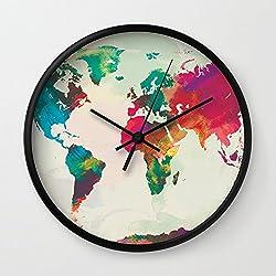 Society6 Watercolor World Map Wall Clock Black Frame, Black Hands