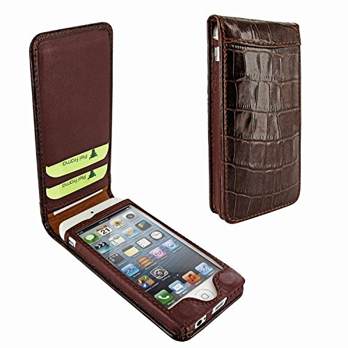 Piel Frama 595 Brown Crocodile Magnetic Leather Case for Apple iPhone 5 / 5S / SE by Piel Frama