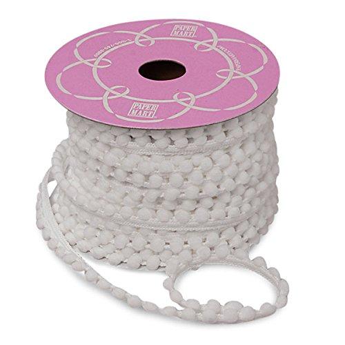 Premium Soft Pom Pom Trim on Heavy Duty Trim - 9 MM by 15 Yards (White)
