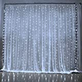 Slashome 29V 300LED Window Curtain Icicle Light with 8 Modes,Curtain String Fairy White Wedding Led Lights 9.8x9.8 Feet