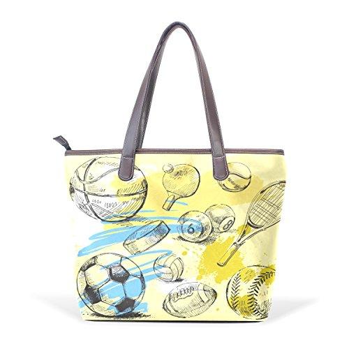 Violet S. Lassiter Graffiti Line Painting Tennis Football Pattern Custom Shoulder Bag Shopping Tote Handbag