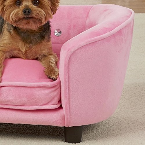 Dog Couch Bed Luxury Elevated Pet Sofa - Deluxe Crystal Tufted Therapeutic Comfort in Pink - Best for Small Dogs with Removable, Washable Cover Bundle w Rope Toy