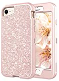 Coolwee Glitter Full Protective Case for iPhone 6/6S/iPhone 7/iPhone 8 Heavy Duty Hybrid 3 in 1 Rugged Shockproof Women Girls Rose Gold for Apple iPhone 6s iPhone 7 iPhone 8 4.7 inch Shiny Bling