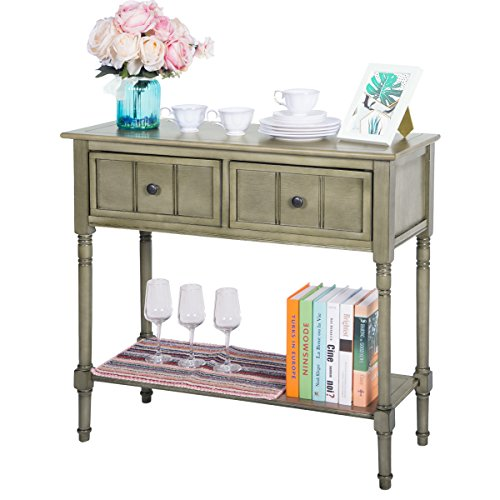 Entryway Traditional (Harper&Bright Designs WF039593EAA Console Table Sideboard Traditional Design with Two Drawers and Bottom Shelf Acacia Mangium)