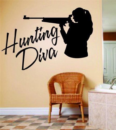Hunting Diva Letters Lettering With Deer Buck Image Animal Hunting Hunter Man With Gun picture Art - Girl Ladies Kids Bed Room Sports Hobbies - Peel & Stick Sticker - Vinyl Wall Decal - DISCOUNTED SALE ITEM Size : 6 Inches X 12 Inches - 22 Colors Available