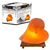WhiteSwade Iconic 'Hearts of Gold' Valentine Himalayan Salt Lamp with Neem Wood Base, 6ft UL-Approved Dimmer Switch Cord and 15W Bulb. Authentic Himalayan Rock Crystal