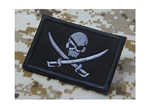 Swords Jolly Roger (PIRATE FLAG JOLLY ROGER Skull Swords EMBROIDERED Calico Jack Morale Patch Hook Backing)