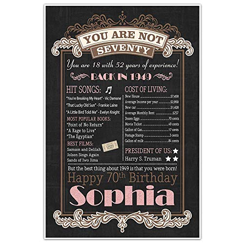 (70th Birthday Chalkboard Born in 1949 Pink Stats Sign Photo Prop Poster)