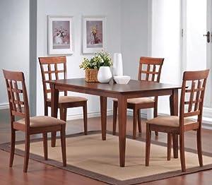 Amazon.com - 5pcs Wheat Back Walnut Finish Dining Table ...