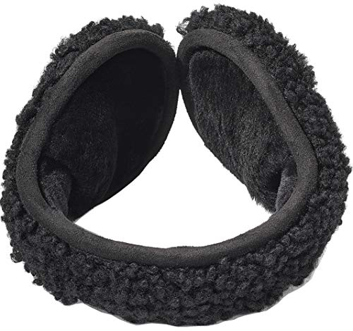 UGG Curly Water Resistant Sheepskin Earmuff Black Curly One Size