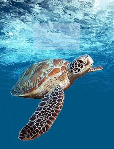 """Notebook: Composition Notebook. College ruled with soft matte cover. 120 Pages. Perfect for school notes, Ideal as a journal or a diary. 9.69"""" x 7.44"""". Great gift idea. (Sea turtle underwater cover)."""