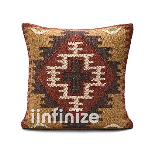 Indian Kilim Rug Handmade Indian Cushion Cover, Vintage Kilim Rug Outdoor Pillow Throw ,Handmade Wool Jute Pillow Shams, Floor Cushions, Boho Throw jute cushion jute cushion cover,jute pillowsham, ()