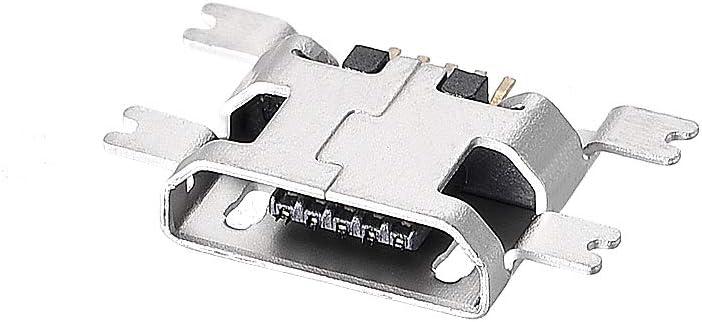 adaptador de repuesto de reparaci/ón DIP de 5 pines de 180 grados sourcing map Puerto de conector hembra hembra micro USB de 100 piezas