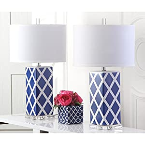 Safavieh Lighting Collection Garden Lattice Navy 27-inch Table Lamp (Set of 2)