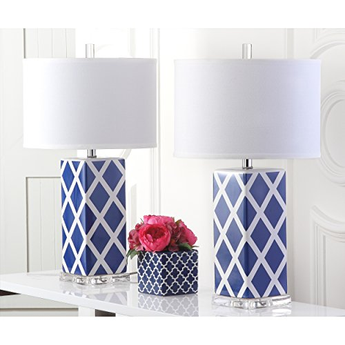 Safavieh Lighting Collection Garden Lattice Navy 27-inch Table Lamp (Set of 2) by Safavieh