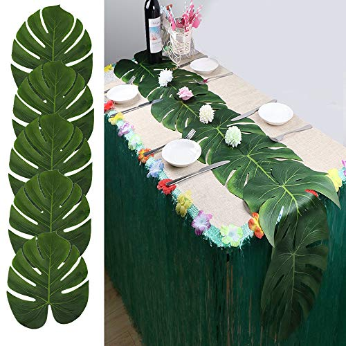 LJDJ Artificial Palm Leaves - Set of 48 - Large 13.8 inch Tropical Monstera Leaves Decorations Artificial Silk Fabric Plant Leaves for Hawaiian Luau Safari Jungle Beach Baby Shower Party - Island Party Confetti
