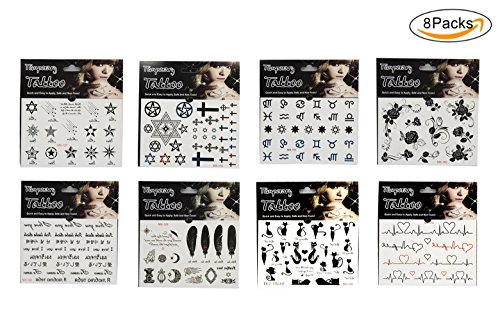 8 Sheets Temporary Tattoos Body Art Make up Fake Tattoo Sticker for Women (Do Your Own Halloween Makeup)