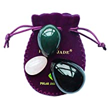 Yoni Eggs 3-pcs Set with 3 Sizes and 3 Gemstones, Drilled, with Unwaxed Thread & Instructions, Made of Nephrite Jade, Rose Quartz and Obsidian, for Yoni PC Muscles Massage or Display Art, Polar Jade