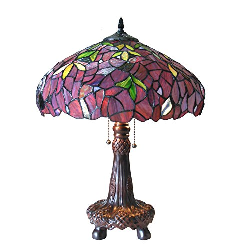 - Katie Wisteria Tiffany Style Stained Glass Table Lamp Shade