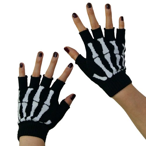 Skeleton Short Fingerless Gloves
