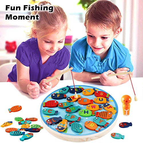 CozyBomB Magnetic Wooden Fishing Game Toy for Toddlers - Alphabet Fish Catching Counting Preschool Board Games Toys for 3 4 5 Year Old Girl Boy Kids Birthday Learning Education Math with Magnet Poles