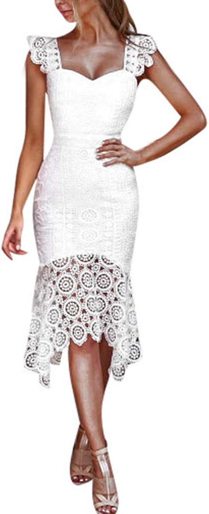 Kleid Kleider Sommerkleid Elegant Vintage Schöne Damen Festliche Sommer  Spitze Knielang Abend Abschlussball Rückenfrei A Linien Partykleid