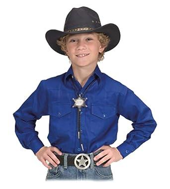 c670ff45 Sunrise Outlet Childrens Button Down Cotton Western Cowboy Shirt-Royal  Blue-Medium