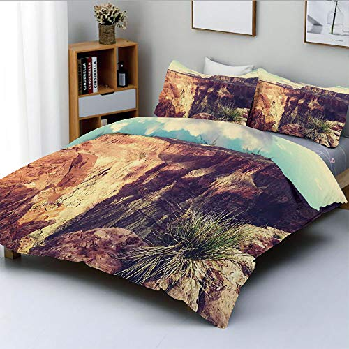 Duplex Print Duvet Cover Set King Size,Exotic Photo of Canyon Rocks Formed Eroding Habita Feature of Geologic MovementDecorative 3 Piece Bedding Set with 2 Pillow Sham,Grey Brown,Best Gift for Kids ()