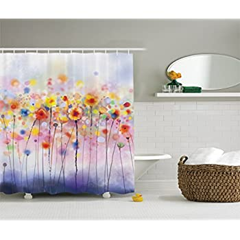 Ambesonne Watercolor Flower Decor Collection Flowers In Soft Colors And Floral Design Blurred Style