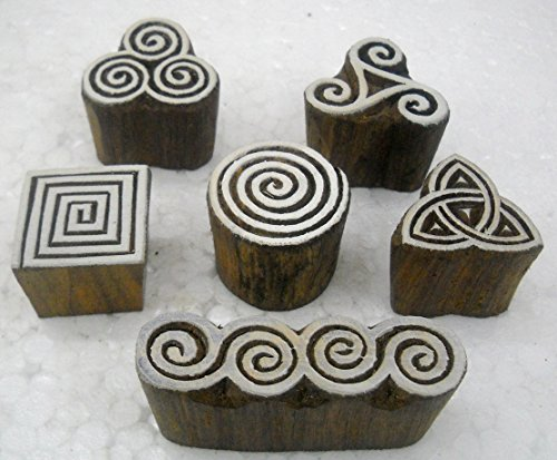 Wholesale Pack of Elegant Designs wooden block stamps/ Tattoo/ Indian Textile Printing Blocks by India Crafts