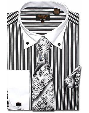 Men's Regular Fit Dress Shirts With Tie Hankerchief Cufflinks Combo Striped Pattern Button Down