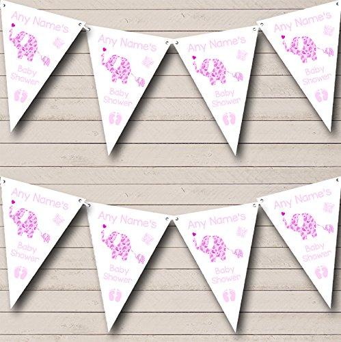 象Cute Baby Girlピンク子供の誕生日パーティーホオジロバナー L L  B072BMDC4M