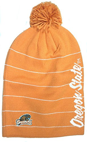 NCAA Officially Licensed Oregon State Beavers Orange Long Embroidered Pom Beanie Hat Cap Lid Toque
