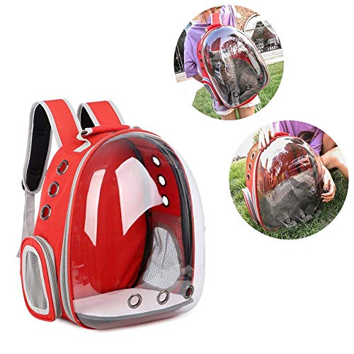 WDNMD Pet Portable Travel Bag Portable Pet Carrier Travel Dog Carrier Backpacks Folding Pet Outing Backpack Double Shoulders KZ-81 (Red)