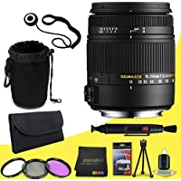 Sigma 18-250mm f3.5-6.3 DC MACRO OS HSM for Canon Digital SLR Cameras + 62mm 3 Piece Filter Kit + Lens Cap Keeper + Deluxe Starter Kit + Deluxe Lens Pouch + Lens Pen Cleaner + DavisMAX MicroFiber Cloth DavisMax Bundle